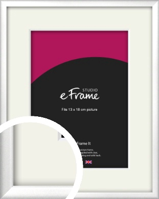 Frosted Chrome Silver Picture Frame & Mount, 13x18cm (5x7