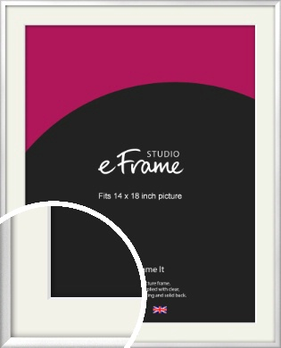 Frosted Chrome Silver Picture Frame & Mount, 14x18