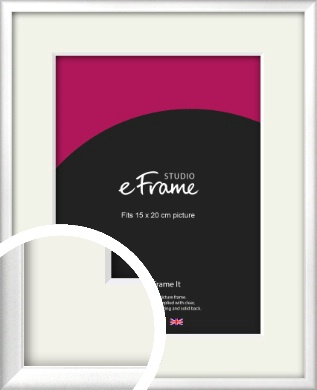 Frosted Chrome Silver Picture Frame & Mount, 15x20cm (6x8