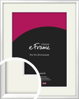 Frosted Chrome Silver Picture Frame & Mount, 18x24cm (VRMP-A046-M-18x24cm)
