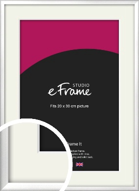 Frosted Chrome Silver Picture Frame & Mount, 20x30cm (8x12