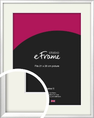 Frosted Chrome Silver Picture Frame & Mount, 21x28cm (VRMP-A046-M-21x28cm)