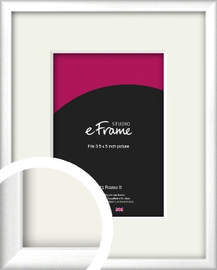 Frosted Chrome Silver Picture Frame & Mount, 3.5x5