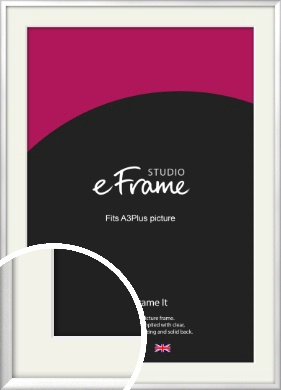 Frosted Chrome Silver Picture Frame & Mount, A3Plus (VRMP-A046-M-329x483mm)