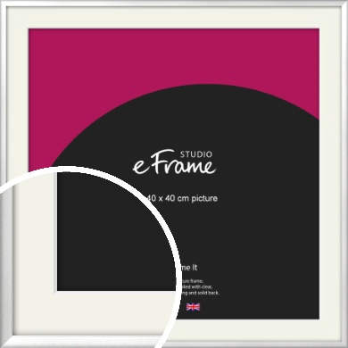 Frosted Chrome Silver Picture Frame & Mount, 40x40cm (VRMP-A046-M-40x40cm)