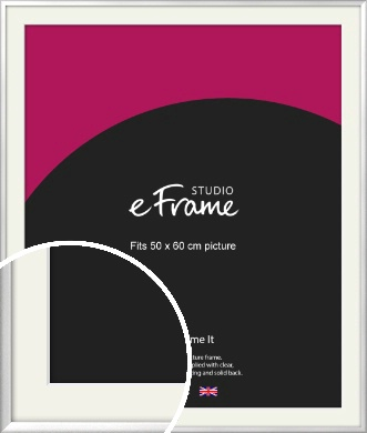 Frosted Chrome Silver Picture Frame & Mount, 50x60cm (VRMP-A046-M-50x60cm)