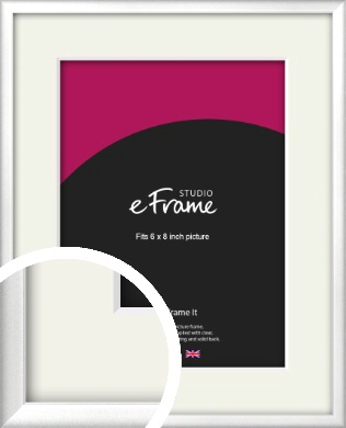 Frosted Chrome Silver Picture Frame & Mount, 6x8