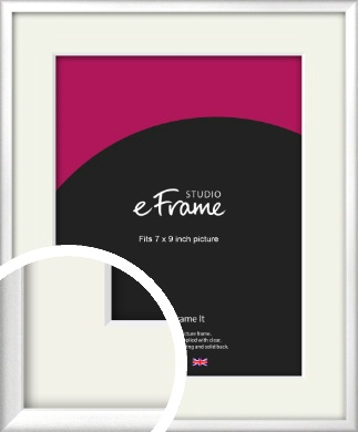 Frosted Chrome Silver Picture Frame & Mount, 7x9