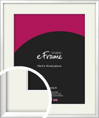 Frosted Chrome Silver Picture Frame & Mount, 8x10