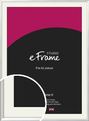 Frosted Chrome Silver Picture Frame & Mount, A2 (420x594mm) (VRMP-A046-M-A2)