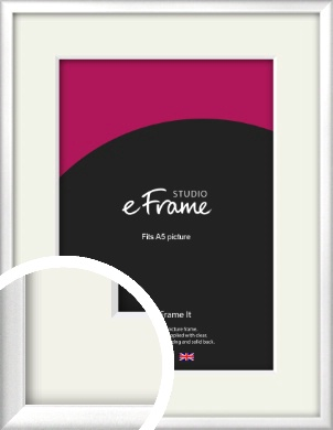 Frosted Chrome Silver Picture Frame & Mount, A5 (148x210mm) (VRMP-A046-M-A5)