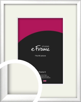Frosted Chrome Silver Picture Frame & Mount, A6 (105x148mm) (VRMP-A046-M-A6)