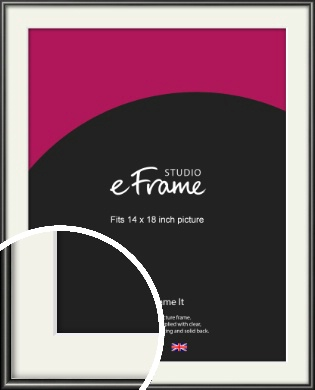 Simple Rounded Black Picture Frame & Mount, 14x18