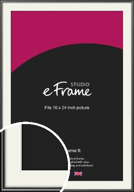 Simple Rounded Black Picture Frame & Mount, 16x24