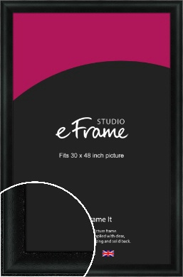 Smooth Scooped Black Picture Frame, 30x48