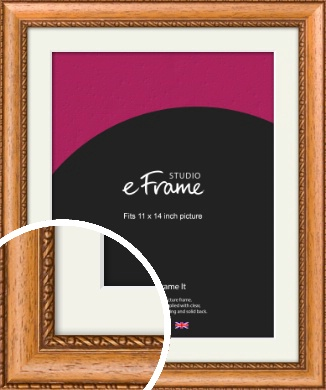 Fancy Honey Brown Picture Frame & Mount, 11x14