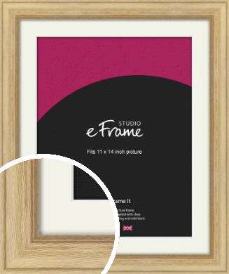 Exposed Grain Natural Wood Picture Frame & Mount, 11x14