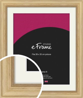 Exposed Grain Natural Wood Picture Frame & Mount, 28x35cm (VRMP-264-M-28x35cm)
