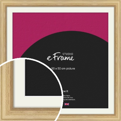 Exposed Grain Natural Wood Picture Frame & Mount, 50x50cm (VRMP-264-M-50x50cm)