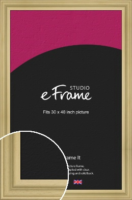 Ridged Natural Wood Picture Frame, 30x48