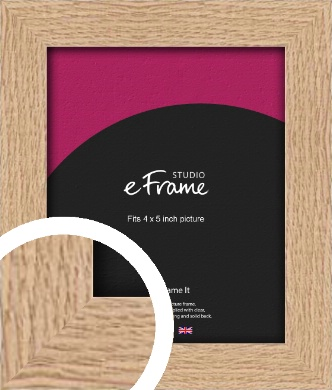 Solid English Oak Natural Wood Picture Frame, 4x5