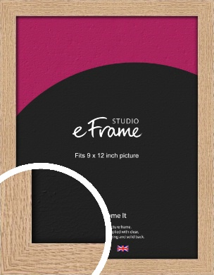 Solid English Oak Natural Wood Picture Frame, 9x12