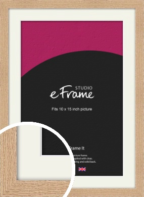 Solid English Oak Natural Wood Picture Frame & Mount, 10x15