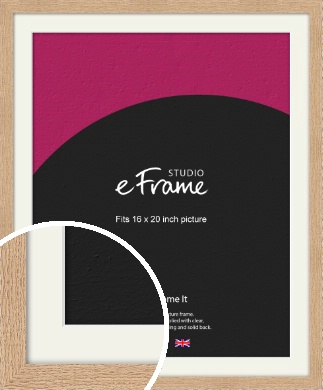 Solid English Oak Natural Wood Picture Frame & Mount, 16x20