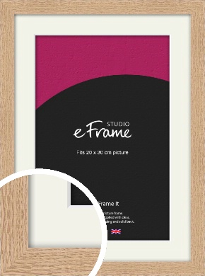 Solid English Oak Natural Wood Picture Frame & Mount, 20x30cm (8x12