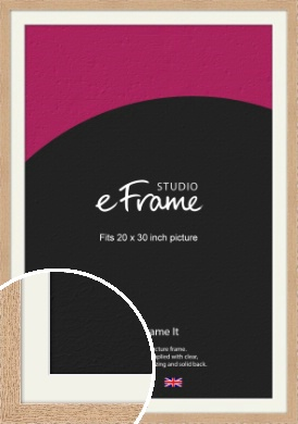 Solid English Oak Natural Wood Picture Frame & Mount, 20x30