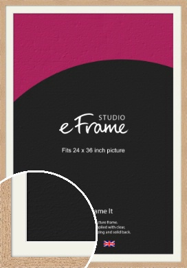 Solid English Oak Natural Wood Picture Frame & Mount, 24x36