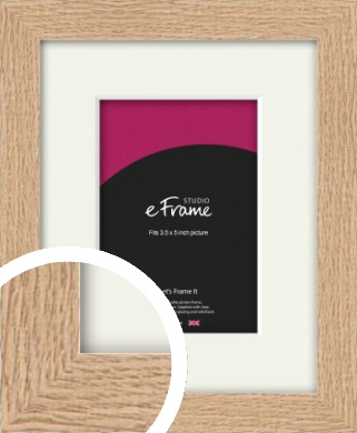 Solid English Oak Natural Wood Picture Frame & Mount, 3.5x5
