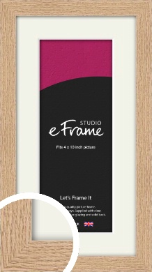Solid English Oak Natural Wood Picture Frame & Mount, 4x10