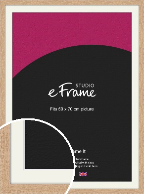 Solid English Oak Natural Wood Picture Frame & Mount, 50x70cm (VRMP-263-M-50x70cm)