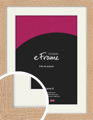 Solid English Oak Natural Wood Picture Frame & Mount, A4 (210x297mm) (VRMP-263-M-A4)