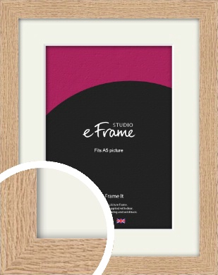 Solid English Oak Natural Wood Picture Frame & Mount, A5 (148x210mm) (VRMP-263-M-A5)