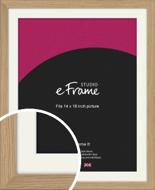 Classic Solid English Oak Natural Wood Picture Frame & Mount, 14x18
