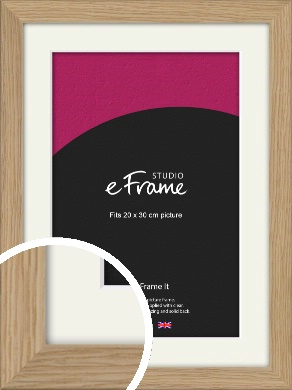 Classic Solid English Oak Natural Wood Picture Frame & Mount, 20x30cm (8x12