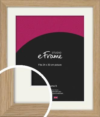 Classic Solid English Oak Natural Wood Picture Frame & Mount, 24x30cm (VRMP-796-M-24x30cm)
