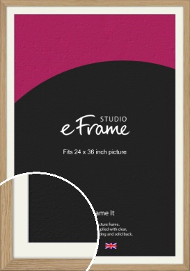 Classic Solid English Oak Natural Wood Picture Frame & Mount, 24x36