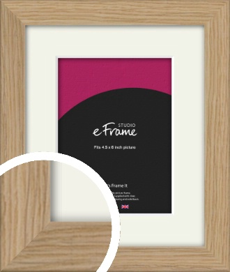 Classic Solid English Oak Natural Wood Picture Frame & Mount, 4.5x6