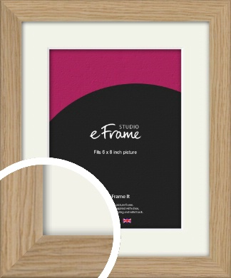 Classic Solid English Oak Natural Wood Picture Frame & Mount, 6x8