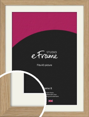 Classic Solid English Oak Natural Wood Picture Frame & Mount, A3 (297x420mm) (VRMP-796-M-A3)