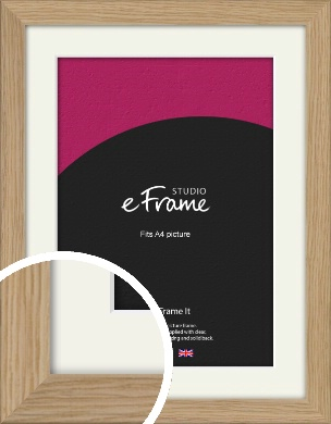 Classic Solid English Oak Natural Wood Picture Frame & Mount, A4 (210x297mm) (VRMP-796-M-A4)
