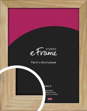 Wavy Grained Natural Wood Picture Frame, 21x28cm (VRMP-797-21x28cm)