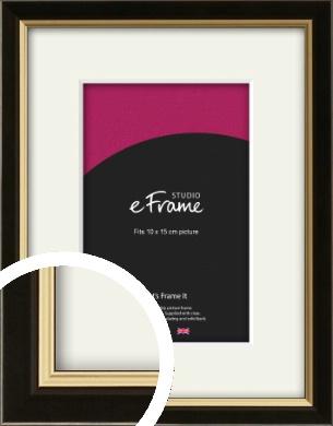 Decorative Gold Edge & Black Picture Frame & Mount, 10x15cm (4x6