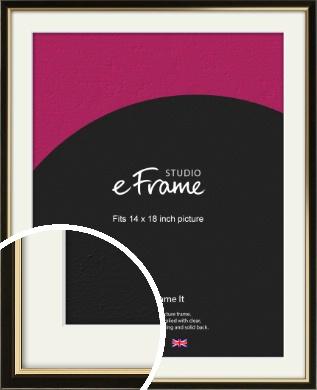 Decorative Gold Edge & Black Picture Frame & Mount, 14x18