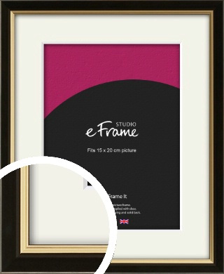 Decorative Gold Edge & Black Picture Frame & Mount, 15x20cm (6x8