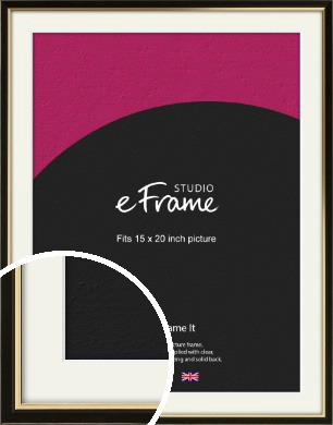 Decorative Gold Edge & Black Picture Frame & Mount, 15x20