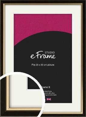 Decorative Gold Edge & Black Picture Frame & Mount, 20x30cm (8x12
